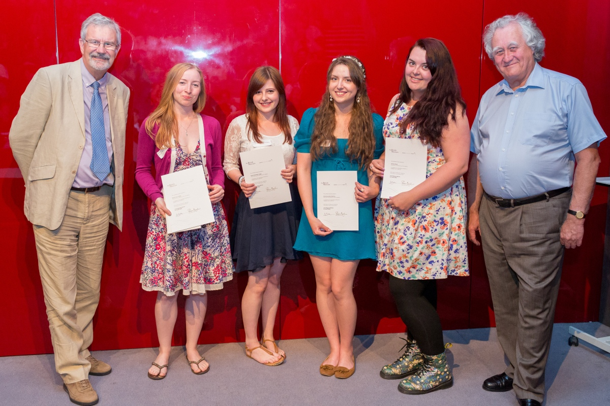 British Museum Marsh Trust Awards, left to right: Professor Clive Gamble, Sarah Hodge, Sarah Stagg, Francesca Didymus, Victoria Smith, Mr Brian Marsh.