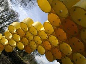 Work in progress: Honeycomb detail of honey bee sculpture at Landworks, Devon.