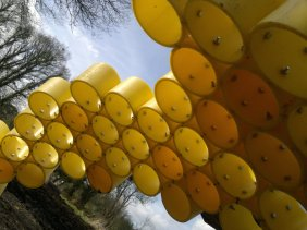 Work in progress: Honeycomb detail of honey bee sculpture at Landworks, Devon.