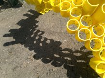 Work in progress: Gas pipe honey bee sculpture. The shadows look just as predicted on SketchUp.