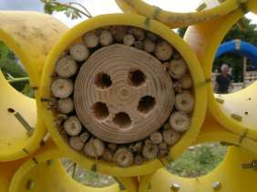 Honey Bee Gas Pipe Sculpture with LandWorks - solitary bee nest detail