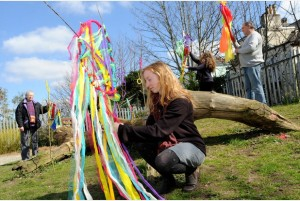 The Friends of Moor View Park host their 'Community Sparks' event. Willow and cloth sculptures are displayed after a workshop run by Sarah-Jane Hodge (foreground) and Phil Magee with Jean and Janine who took part in the workshop. Photo credit: Lucy Davies