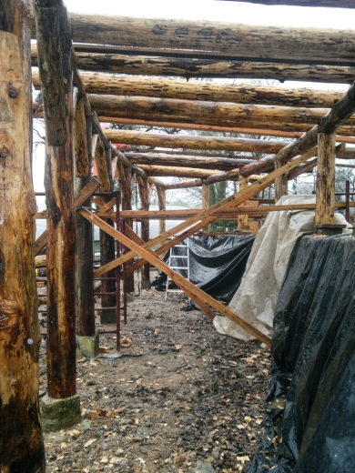 Rafters in timber frame land art sculpture