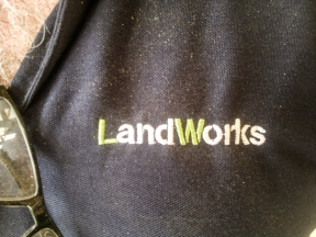New LandWorks t-shirt and logo (and Will The Wood's hairy chest)